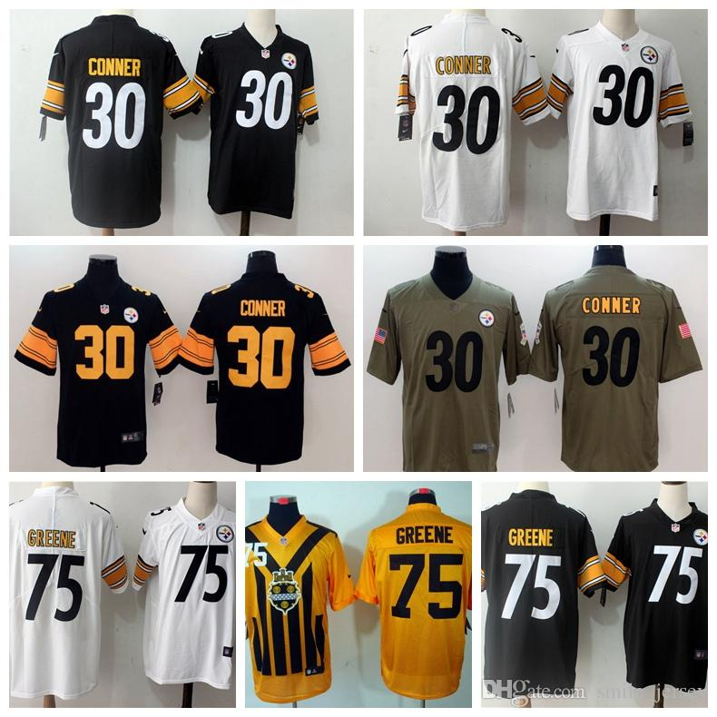 241aa2ea845 2019 2019 New Mens 75 Joe Greene Pittsburgh Jersey Steelers Football  Jerseys 100% Stitched Embroidery 30 James Conner Color Rush Football Shirt  From ...