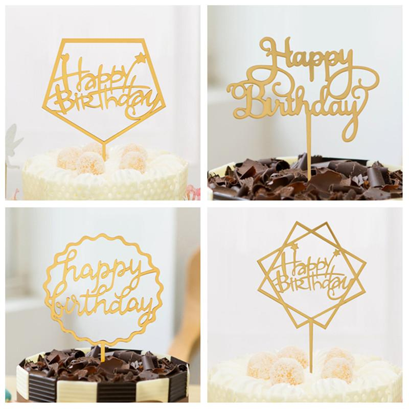 2019 Pink Gold Black Happy Birthday Love Cake Topper Acrylic Flags For Wedding Party Baking Decor Baby Shower From Dtanya 3363
