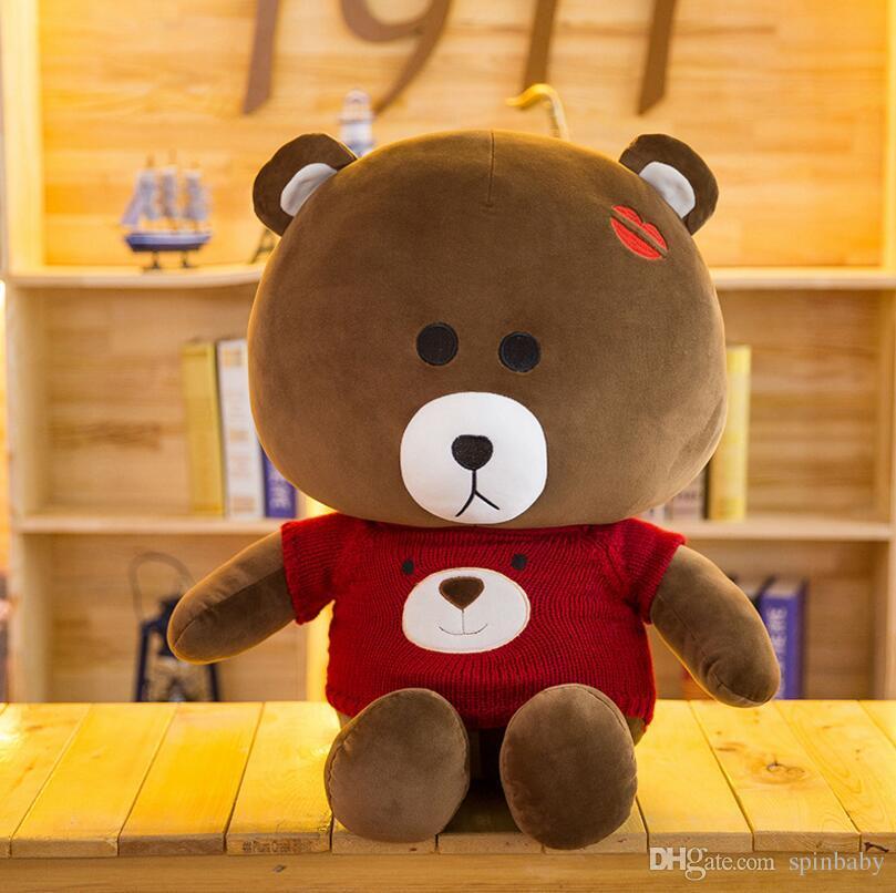 50CM Mr Brown Bear Plush Toys Doll With Creative Sweater Bear Cute Stuffed Plush Toy Teddy Bear Pillows for Children Birthday Gift