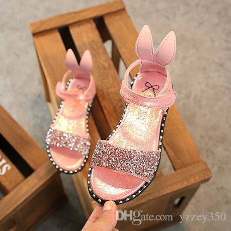 2f5e15a3d Hot Sale Baby Girl Sandals Fashion Bling Shiny Rhinestone Girls Shoes With Rabbit  Ear Kids Flat Sandals Discount Toddler Shoes Kids Boots Boys From Yzzey350  ...