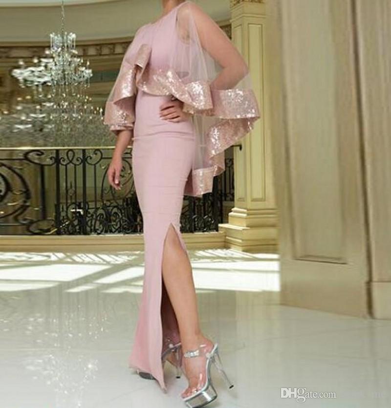 Dusty rose sirène robes de bal avec veste / Wraps paillettes Side Split robe de soirée étage longueur fermeture éclair retour pas cher robes de cocktail Vestidos