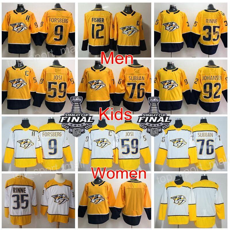 1c02f89ec 2019 Man Youth Women Nashville Predators Jersey Stanley Cup Filip Forsberg  Mike Fisher Pekka Rinne Roman Josi PK Subban Ryan Johansen Hockey Kids From  ...