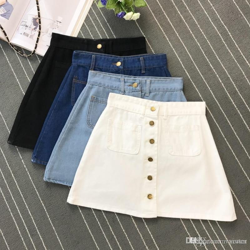 6f657a6c7e 2019 Summer Womens Ladies A Line Pencil Jeans Skirt Front Button High Waist  Denim Small Pockets Skirt Black White Four Colors From Vaiwen, $30.84    DHgate.