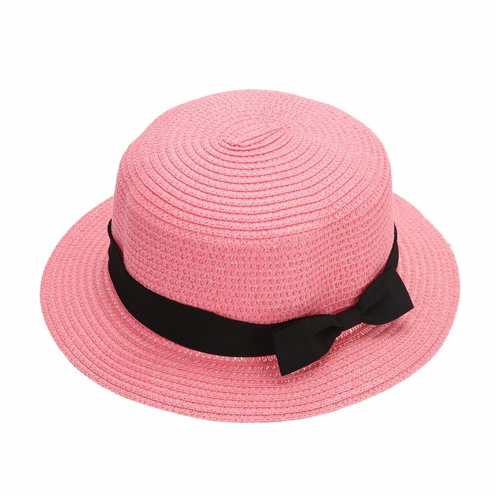 Wide Brim Straw Hats Bow Round Beach Summer Hats for Women Women ... 0f677e1c15d7