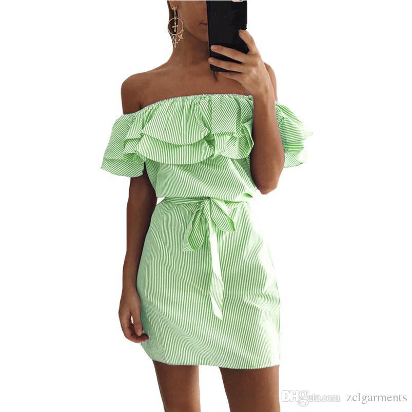 2018 Yaz Moda kadın Yeni Çizgili Elbiseler Seksi Fırfır Mini Elbise Rahat Tarzı Rahat Pretty Kemer Kadın Giyim