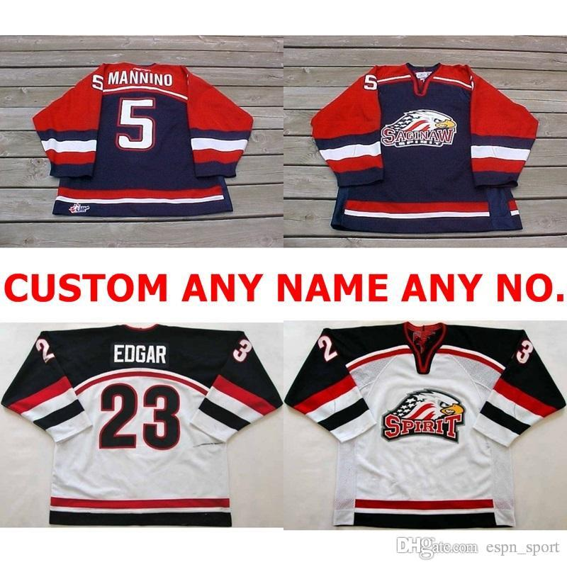Personalized OHL Saginaw Spirit Jersey 5 Mannino 23 Edgar Mens Womens Kids Stitched  Ice Hockey Jerseys Custom Any Name NO.Goalit Cut Jerseys 5 Mannino 23 ... 0e497ba15