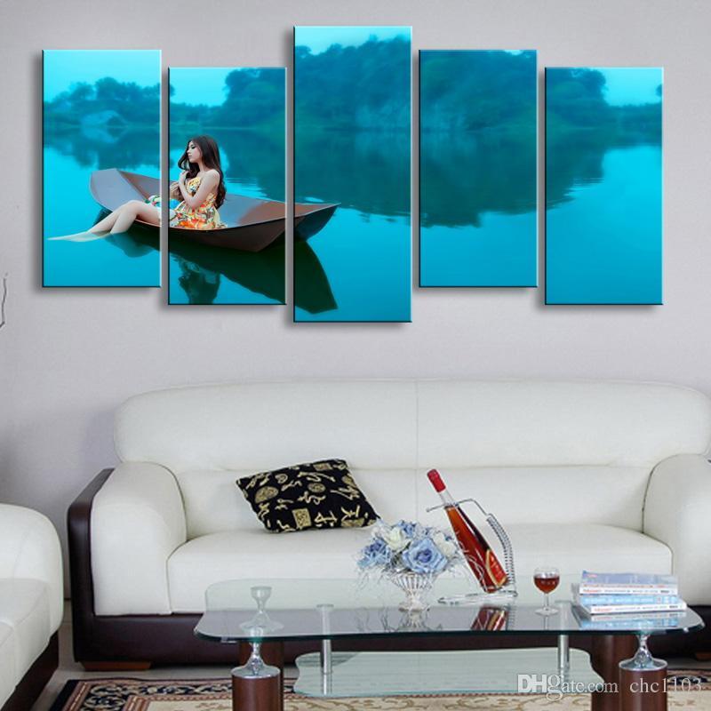 Adada 5 adet yüksek çözünürlüklü baskı kadın tuval baskılar boyama posteri ve duvar sanatı oturma odası resmi HaiD-001