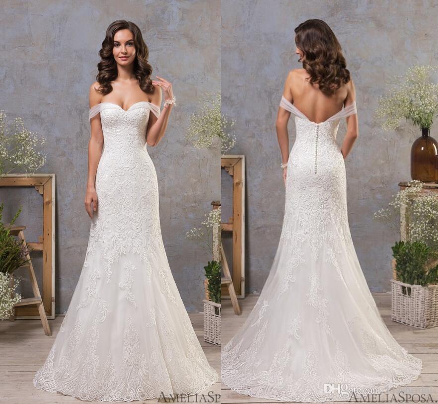 Retro Mermaid Lace Wedding Dresses 2018 Full Lace Vintage