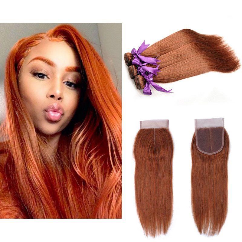 2018 Brazilian Human Hair Weave Color 33 Bundles With Closure