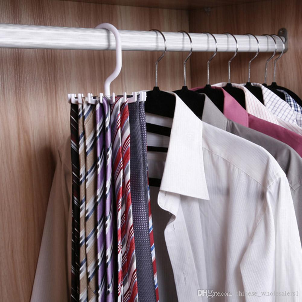Factory Rotating Tie Rack Hanger Holder 20 Hooks Clostet Clothing Rack  Hanging Necktie Tie Shelves Wardrobe Organizer White Wardrobe Organizer  Clothing Rack ...
