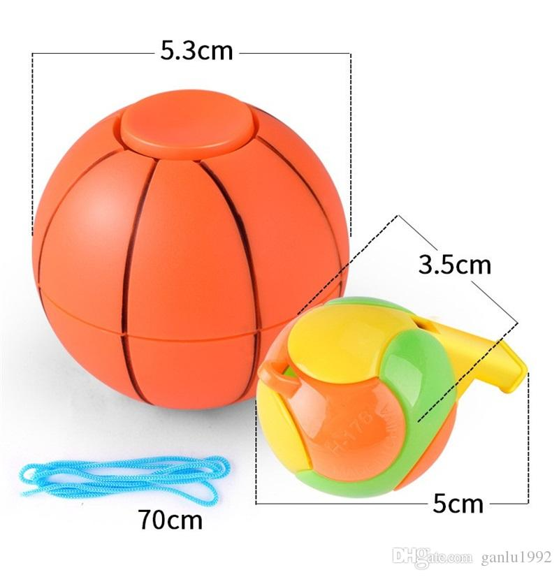 Reduced Pressure Toy Children Gifts Fidget Football Basketball Finger Hand Spinner Stress Relief Gyro With Whistling 5bx C