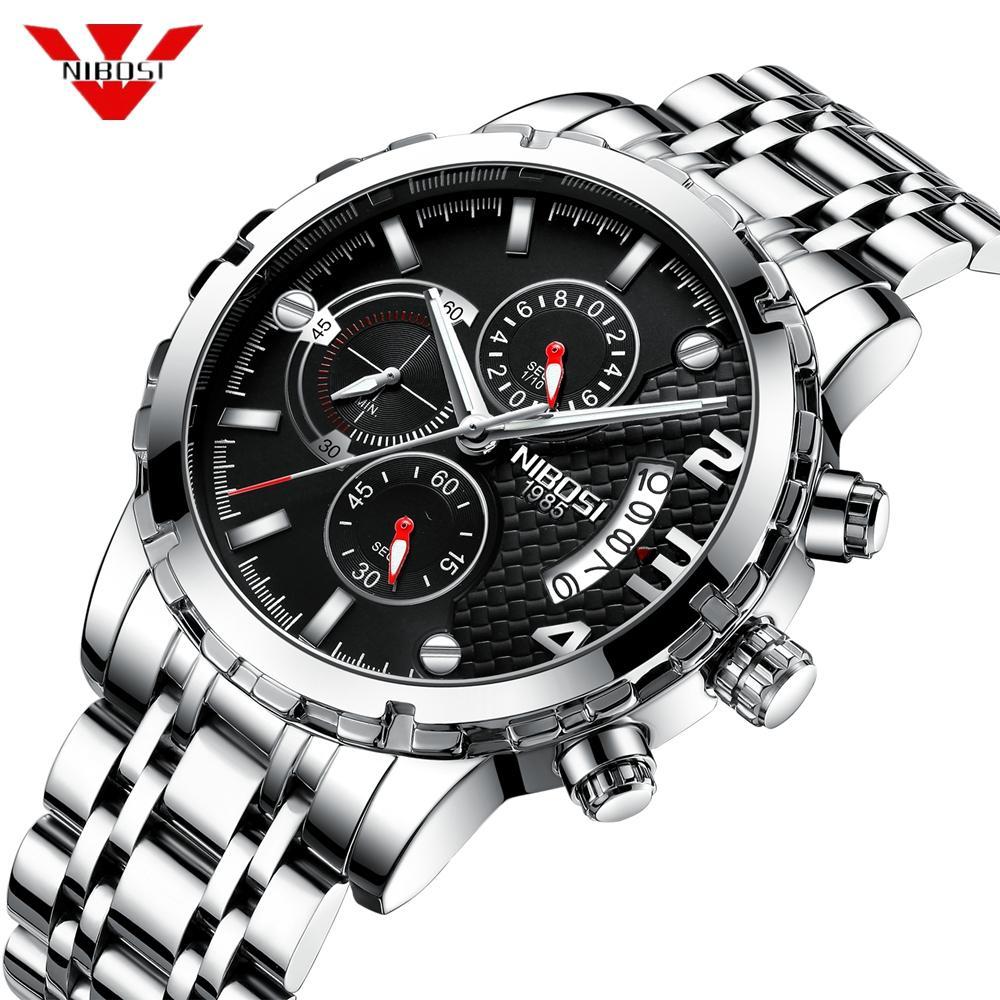 8f6d4c35da54 Compre Nibosi Reloj De Los Hombres De Moda Deporte Reloj De Cuarzo Relojes  Para Hombre De Primeras Marcas De Lujo Negro Masculino Impermeable Reloj De  ...