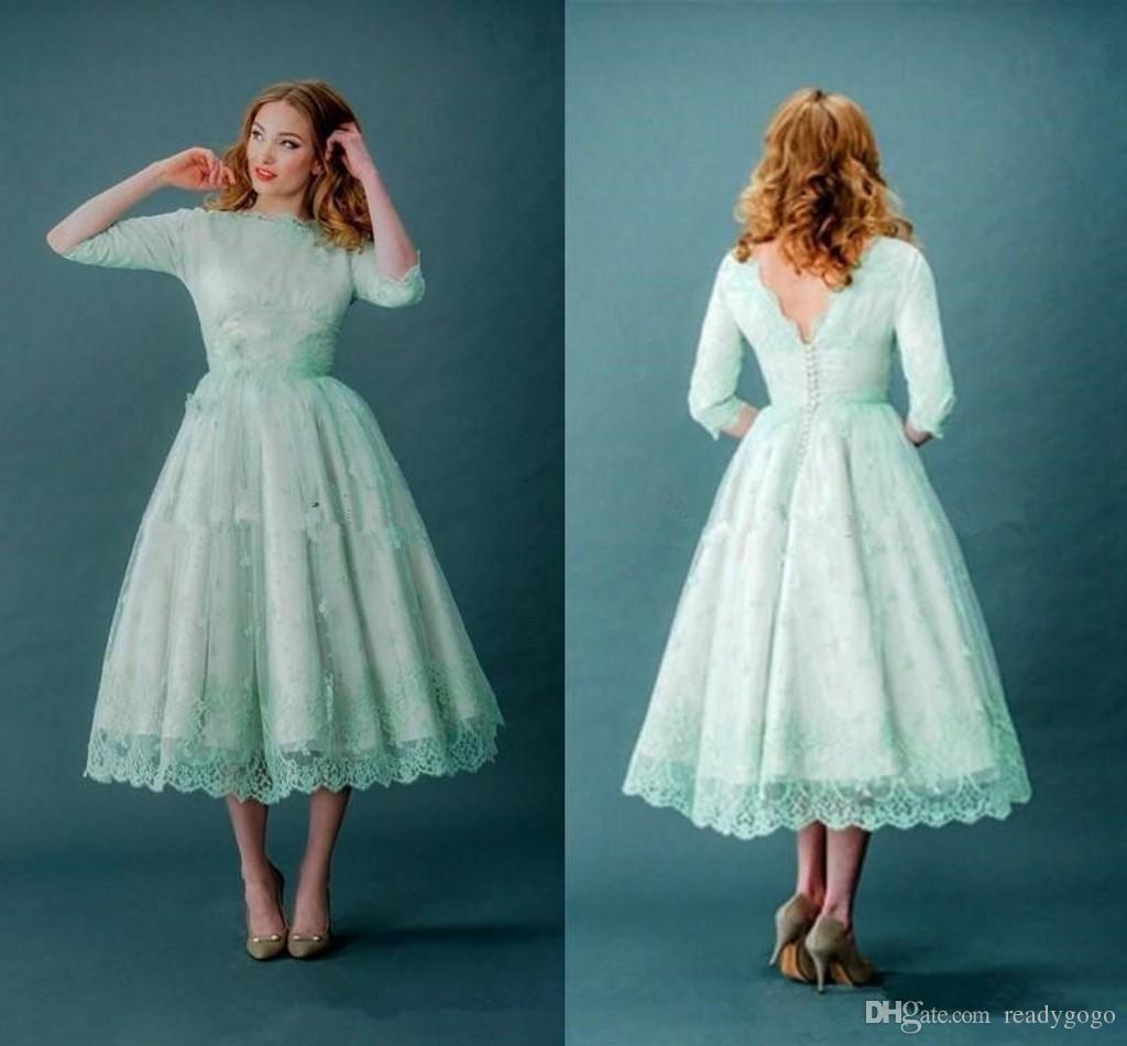 6dbb6ec88c Discount Vintage 1920s Tea Length Wedding Dresses With Half Sleeve 2018  Modest Retro Mint Green Lace Low Back Plus Size Short Bridal Gowns Gorgeous  Wedding ...