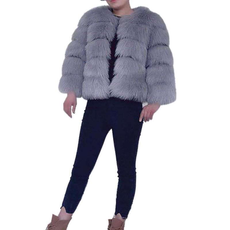 db0b46fea 2019 Fluffy Faux Fur Coats Women 2018 Vintage Short Furry Fake Fur Winter  Outerwear Coat Solid Autumn Winter Casual Party Overcoats From Piaocloth,  ...