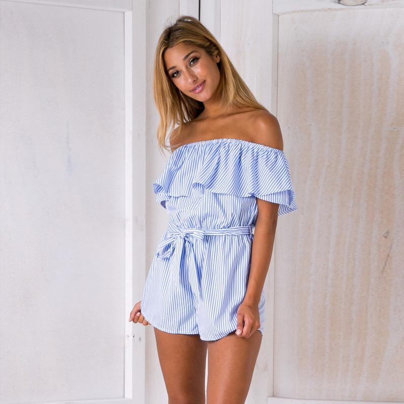 Women's Clothing Fashion Ladies Mini Playsuit One Piece Stripped Jumpsuits For Women 2018 Summer Shorts Beach Combinaison Femme Punctual Timing