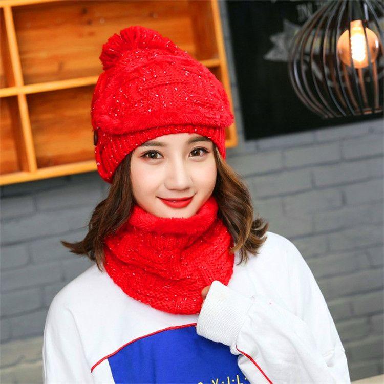 8facfc69a3c04 Winter Hat Scarf Mask For Women Fashion Solid Fur Wool Lining Warm ...