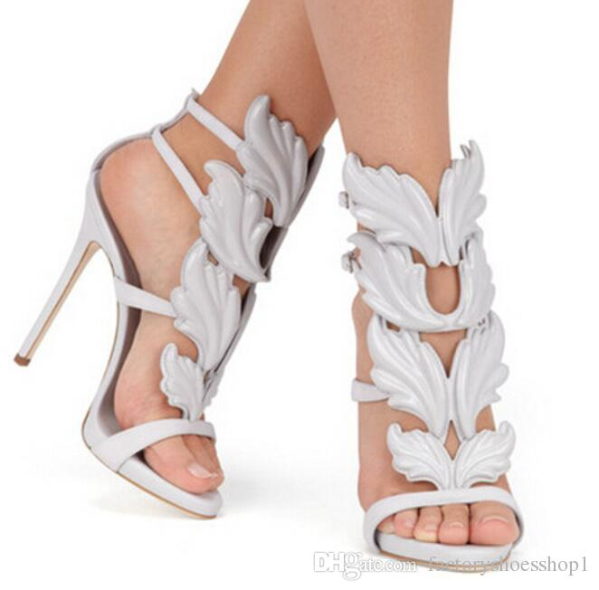 2018 Design Cruel Summer Leaves Angle Wings Shoes Woman Buckle Strap Gladiator High Heels Sandals Women Gold Silver Yellow White