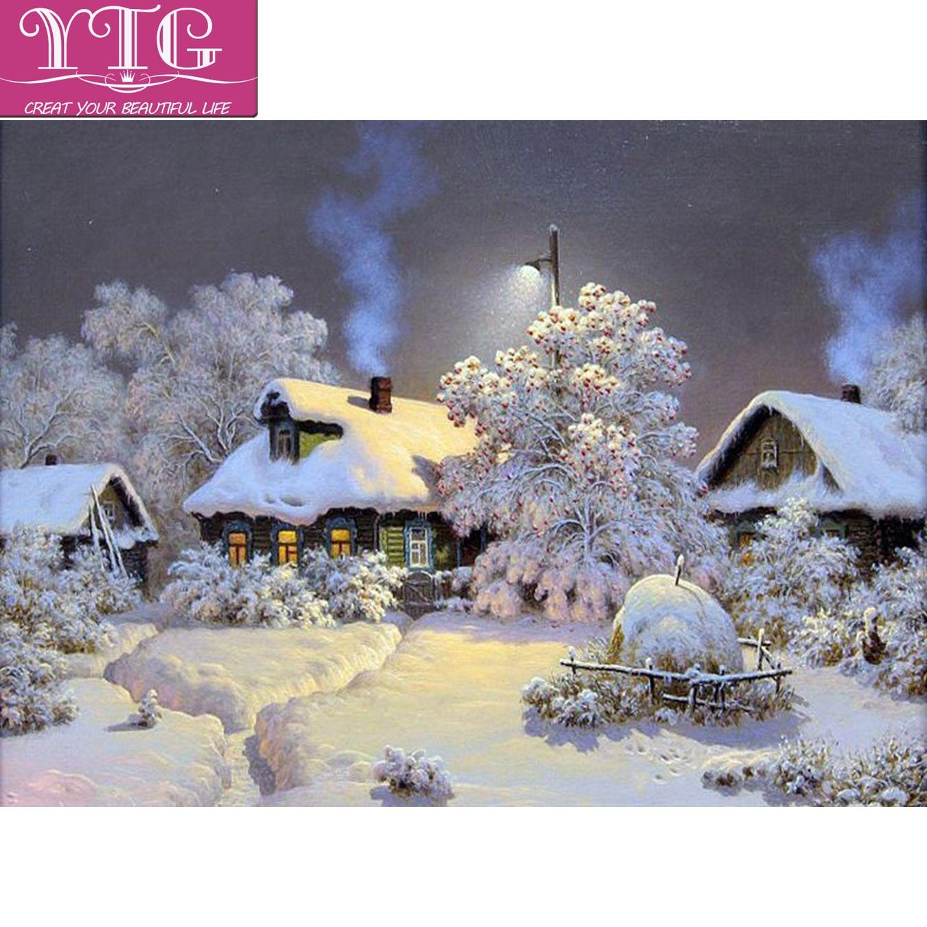 Großhandel Weihnachten, Schnee, Diamant Stickerei, Szene, Voll ...