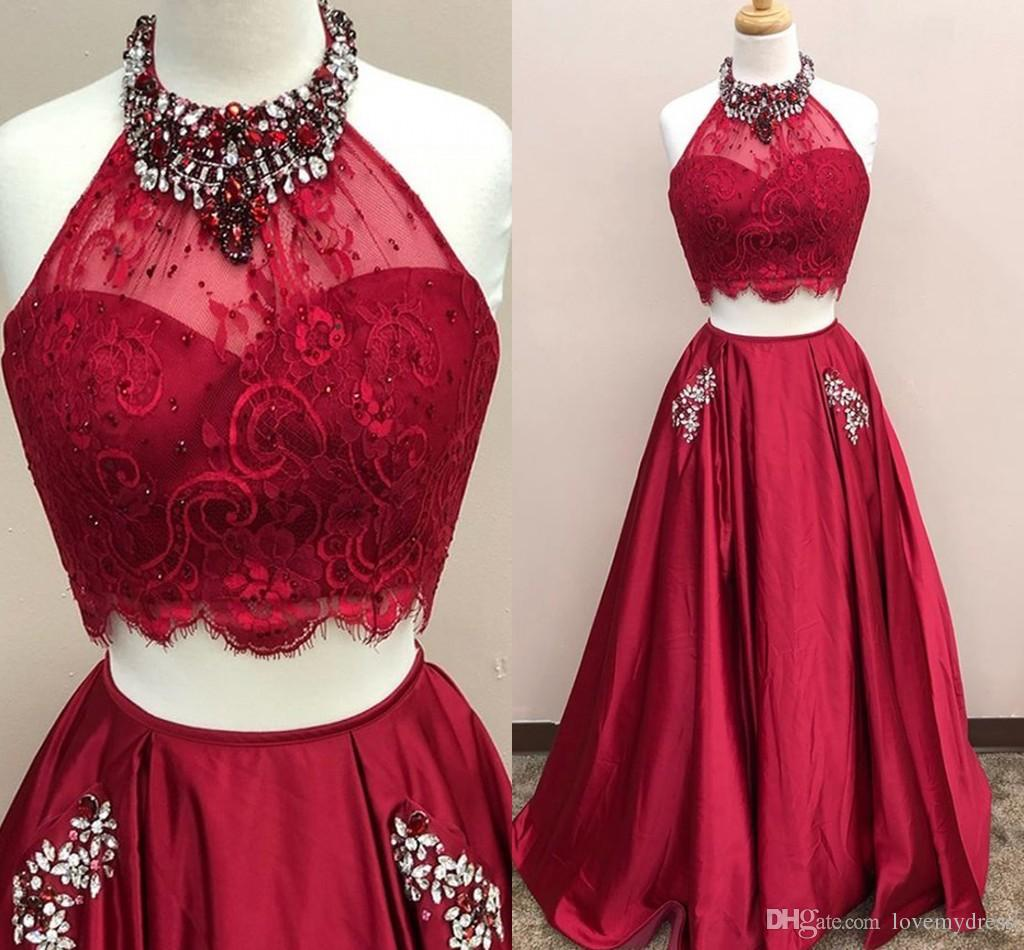 2ce29b39cec Wine Red Prom Dress Cheap Halter 2018 With Sparkly Crystals Rhinestones Lace  A Line Pocket Designer Long Red Carpet Formal Gowns Prom Dresses Uk Dresses  ...