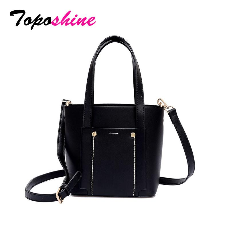 Toposhine Korean Style Simple Solid Pu Leather Casual Tote Bags For Women  2018 Fashion Girl Shopping Shoulder Bag Female Handbag Designer Handbags On  Sale ... 958788fa1b7fd