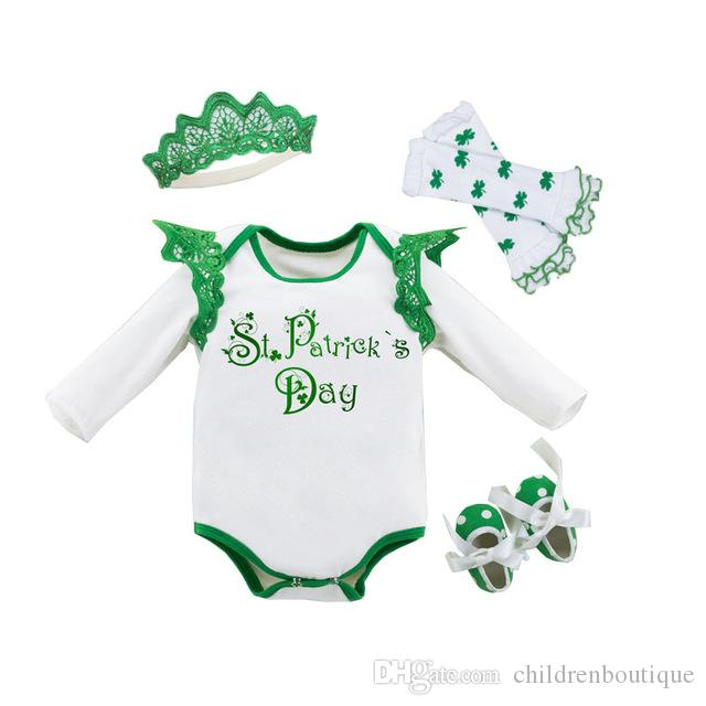 ac9abae88 St,Patrick'S Day Outfits Baby Girls Clothes Set Green Clover Printed Long  Sleeve Romper+Legging Warmers+Green Toddler Shoes+Crown 4Pcs Set