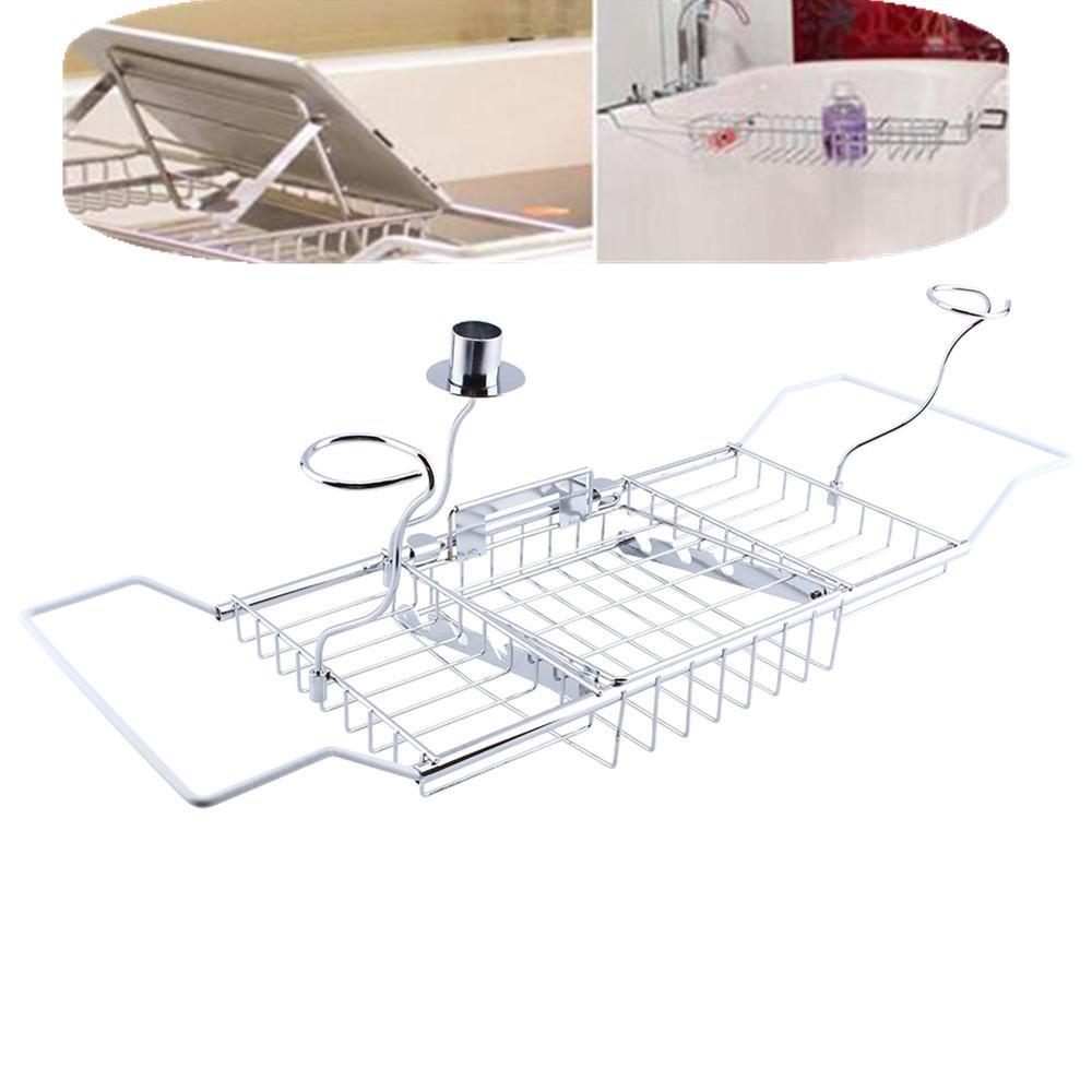 Shower Caddy Shelf Storage Chrome Bath Tub Overback Wine Rack ...