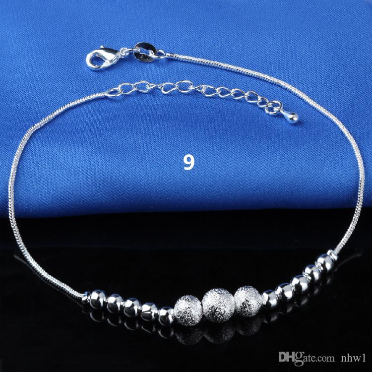 Venda quente Carimbado 925 Sterling Silver Tornozeleiras Para As Mulheres Simples Grânulos De Prata Anklet Tornozeleira Pé Jóias
