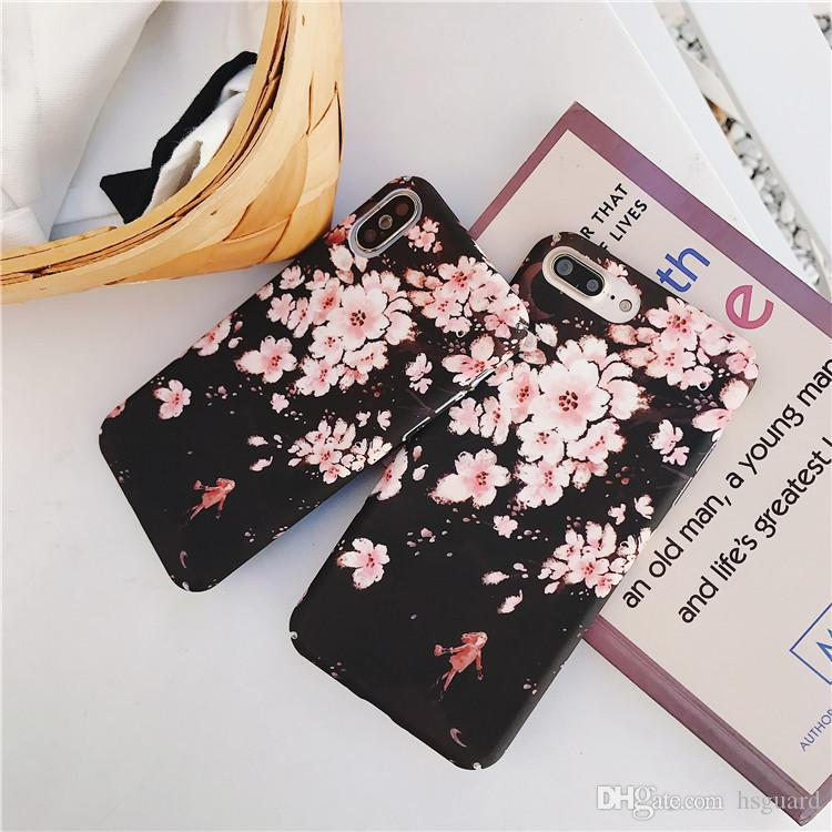 Cherry Blossoms Phone Cases Girl PC Hard Shell Matte Feel For Iphone X Upscale Cell Phone Case For Iphone 6 7 8 Plus