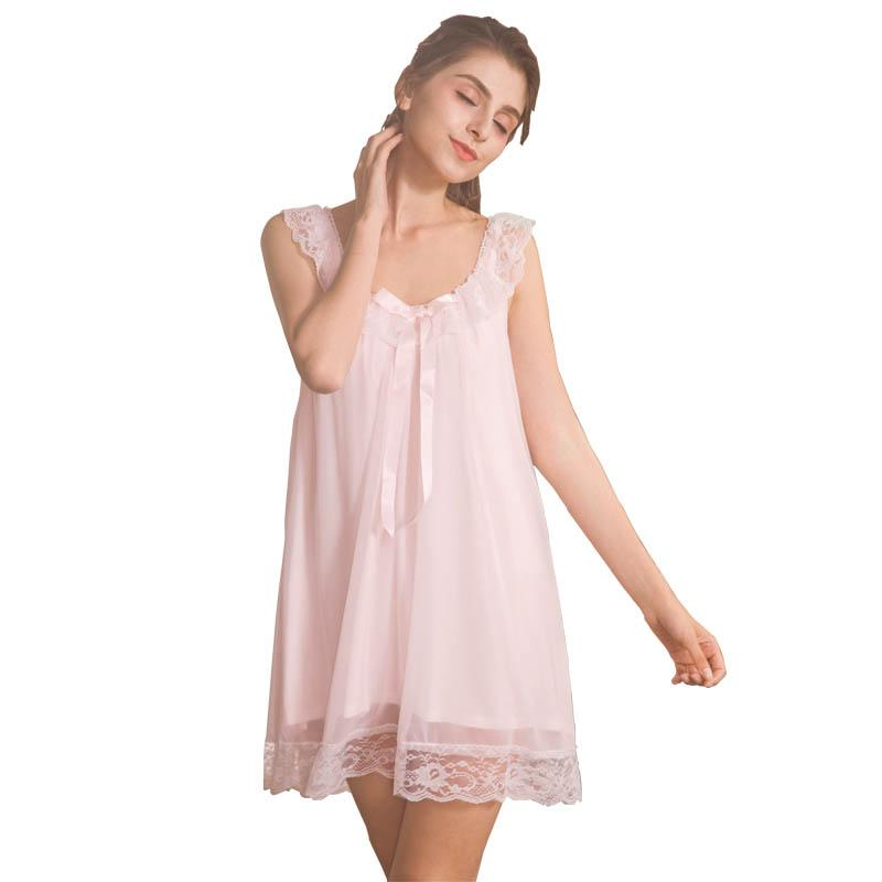b696143b8 2019 Summer Sexy Suspenders Women Sleepwear Home Clothing Lace Cotton Girl  Shorts Nightgown Silk Texture Princess Style From Jellwaygood