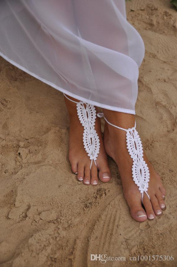 Boda en la playa Boda blanca de ganchillo Sandalias descalzas, Zapatos desnudos, Joyería de pie, Nupcial, Encaje victoriano, Sexy, Yoga, Tobillera ..
