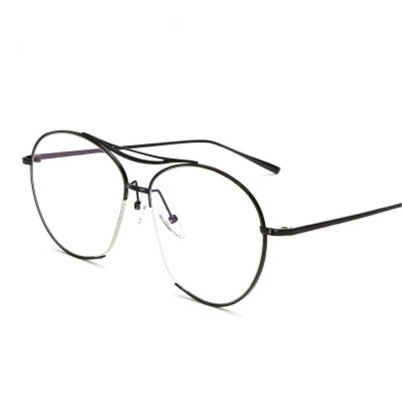 a45bc3b4d29 2019 2018 Hot Retro Double Beam Metal Women Eyeglasses Frame Men Big Frame  Clear Lens Glasses Female Black Fake Eyewear Goggle From Watercup