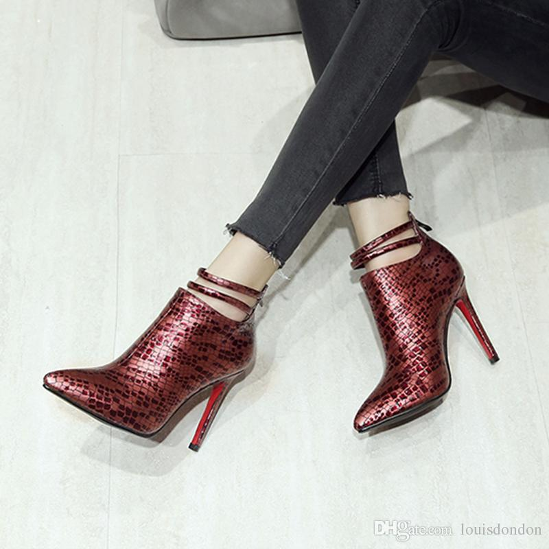 Stylish Upscale Quality Pointed Toe Special Upper Design Nightclub Women Burgundy and Black 10cm High Heel Ankle Strap Boots Ladies Booties