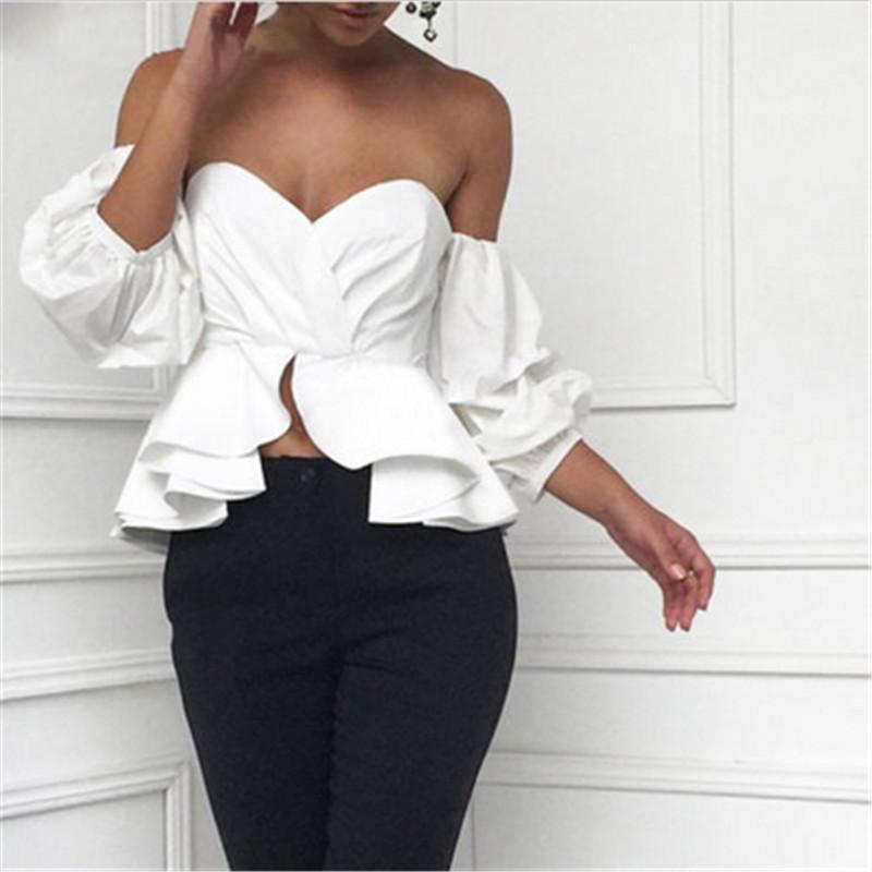 1ddd35a55142b8 2019 2017 Summer Women Off Shoulder Tops Blouse Shirts Strapless Backless  Puff Sleeve Ruffles Peplum Sexy Women Clothes Korean Style From Sheju