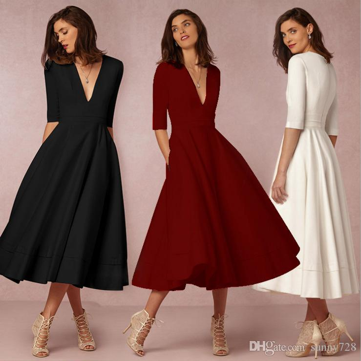 simple casual simple long party dresses
