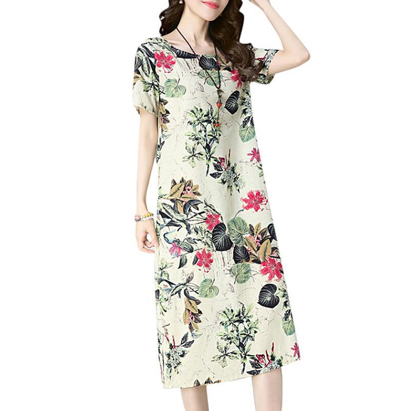e2e81de0a51d7 Plus Size Women Cotton Linen Dress Floral Printed Round Neck Short Sleeve  Korean Dress Pocket Casual Loose Mid-calf Summer Dress