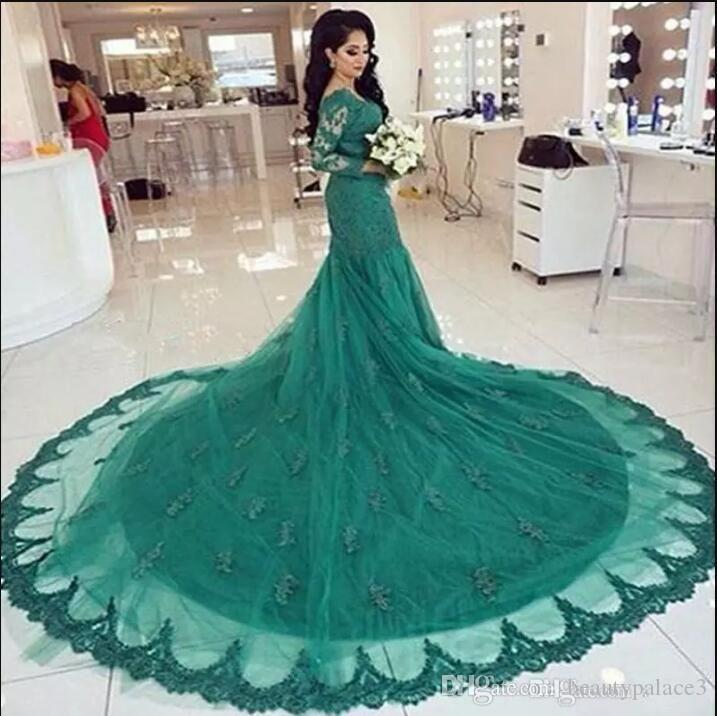 Hunter Green Evening Dresses Mermaid with Long Sleeves Sexy V Neck Prom Dresses Lace Appliques Sweep Court Train