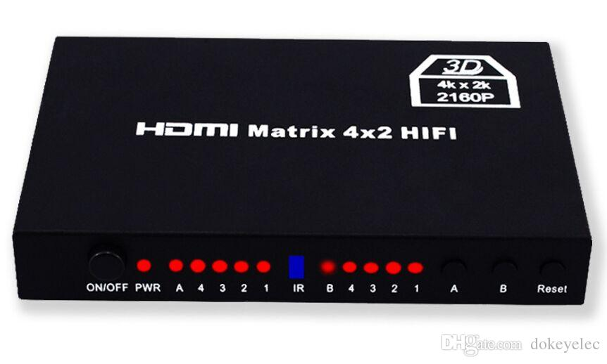 mini Smart 4K Ultra 4kx2k 2160p 4x2 HDMI Matrix with Remote Control HDMI 4 in and 2 out Switcher Splitter 3D