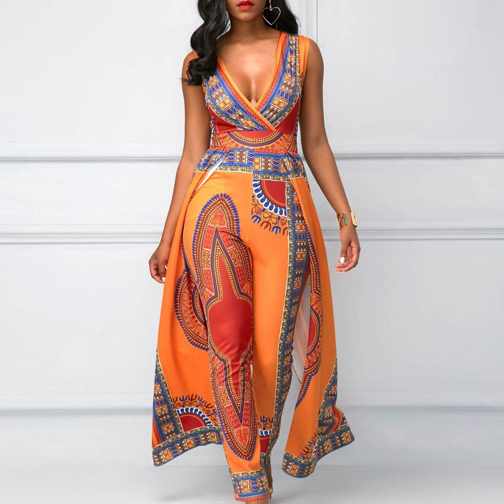 9a02f31ebf 2018 autumn sleeveless strappy African print Traditional Clothing Bazin  Riche long jumpsuit wide leg Sexy Dashiki outfit overall