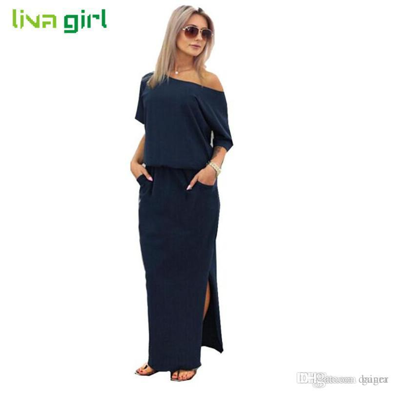 b69037b1770 Wholesale- Women Summer Sexy Long BOHO Dress Sexy Lady Maxi Long Dresses  Loose Casual Lady Solid Evenig Party Vestidos With Pocket Jan5 Dress Maid  Dress ...