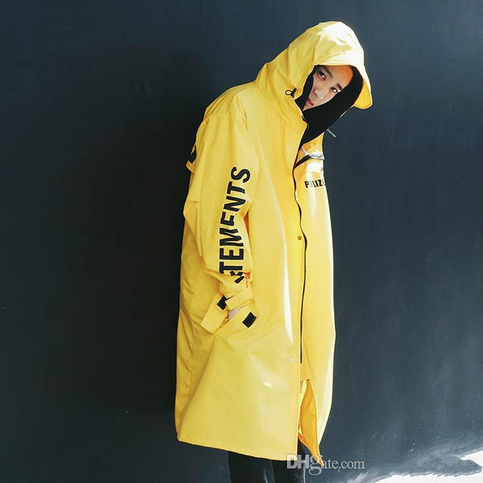 Wholesale- Vetements Polizei Man Jackets Hooded Rain Coat Water-proof Sun Protection Trench Casual Hi-Street Fashion Brand Men Clothing