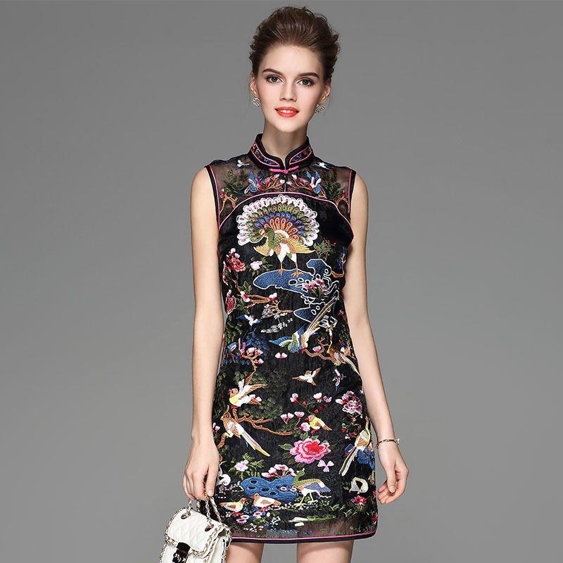 7e1f0b34fa3 2019 2018 Chinese Traditional Evening Gown Black Cheongsam Embroidery Qipao  Classic Women Dress Elegant Retro China Modern Qi Pao From Pamele