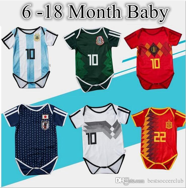 2ec166c1a1d 2019 Baby Jersey For 6 To 18 Month Baby 2018 World Cup Shirt Argebtina  Spain Mexico Colombia Belgian #10 MESSI Russia Kid Jersey 2018 Baby Shirts  From ...
