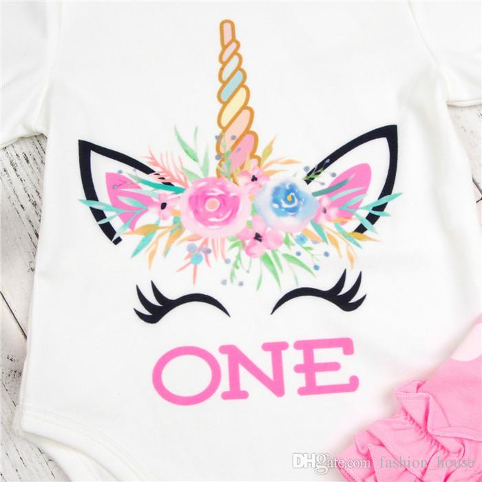 "ins xmas infant baby unicorn white rompers & girls flower socks baby ""One"" Letter print jumpsuits romper 0-2year free ship A08"