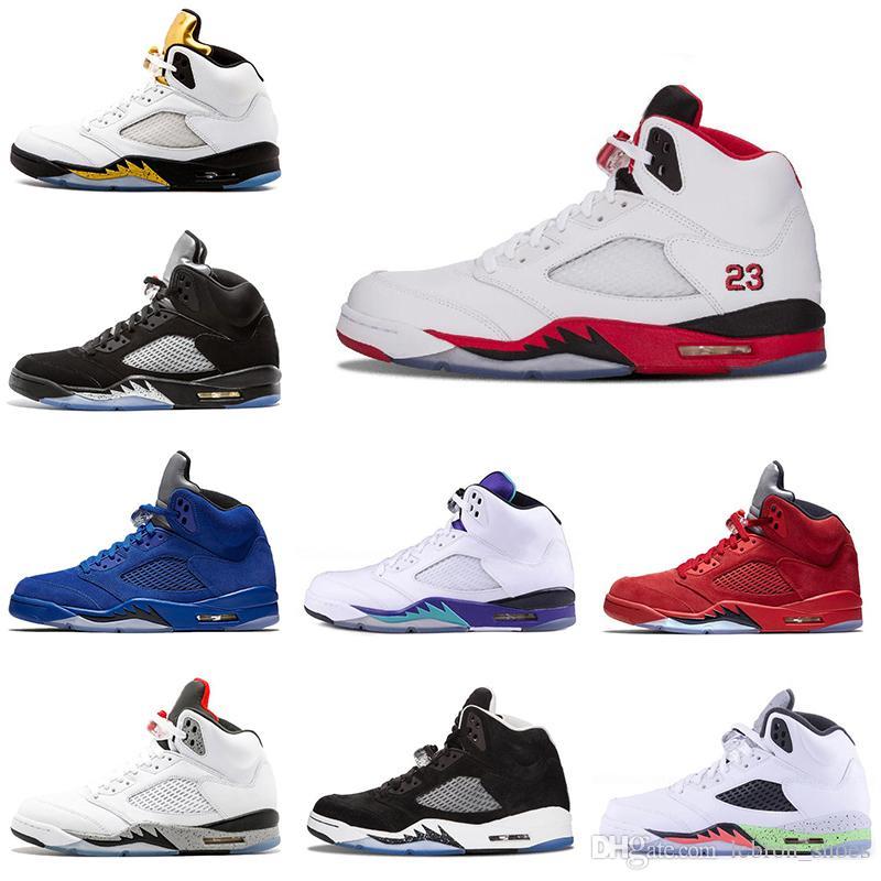 5b9ad13f575 Compre Nike Air Jordan 5 5s Zapatos De Baloncesto Para Hombre CDP Negro  Grape Blue Suede Fire Red Flight Suit Hombres Entrenadores Zapatillas De Deporte  5 ...
