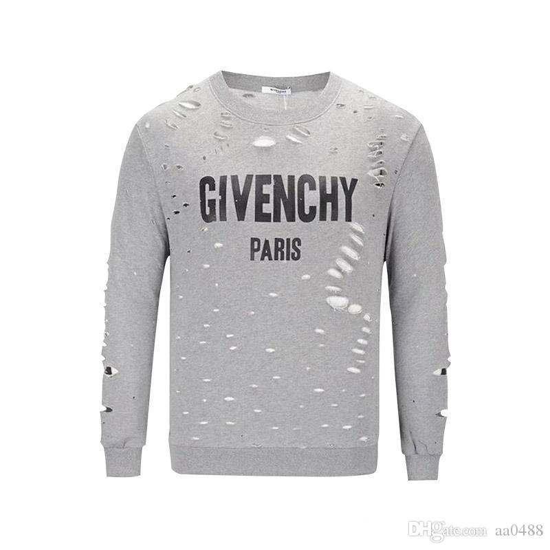1668d6fd3326c Satın Al 2019 Son Tasarım Yaz Sokak Giyim Avrupa Paris Hayranları Moda  Erkek Yüksek Kaliteli Delik Pamuk T Shirt Rahat Kazak Kadın T Shirt Giv, ...