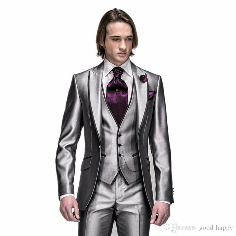 New Fashion Slim Fit Shiny Silver Grey Groom Tuxedos Groomsmen Excellent Man Wedding Wear Men Party Prom Suit(Jacket+Pants+Tie+Vest) NO;882