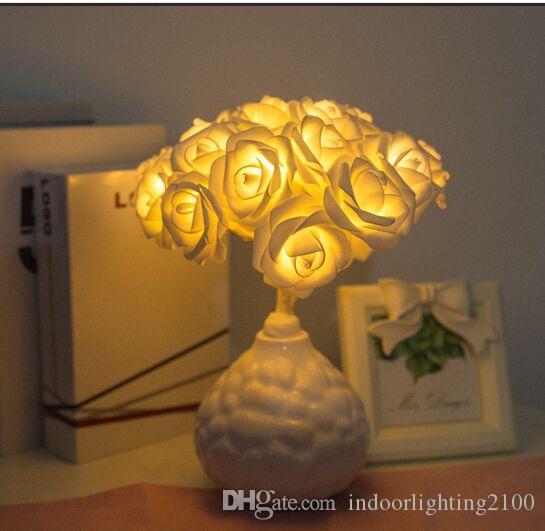 2018 yeni model Pil tarzı 20 ışıkları LED Gül Gece Işıkları Lamba Düğün Doğum Günü Yılbaşı Hediyeleri Dekorasyon Aydınlatma El Sanatları Hediye masa Lambası