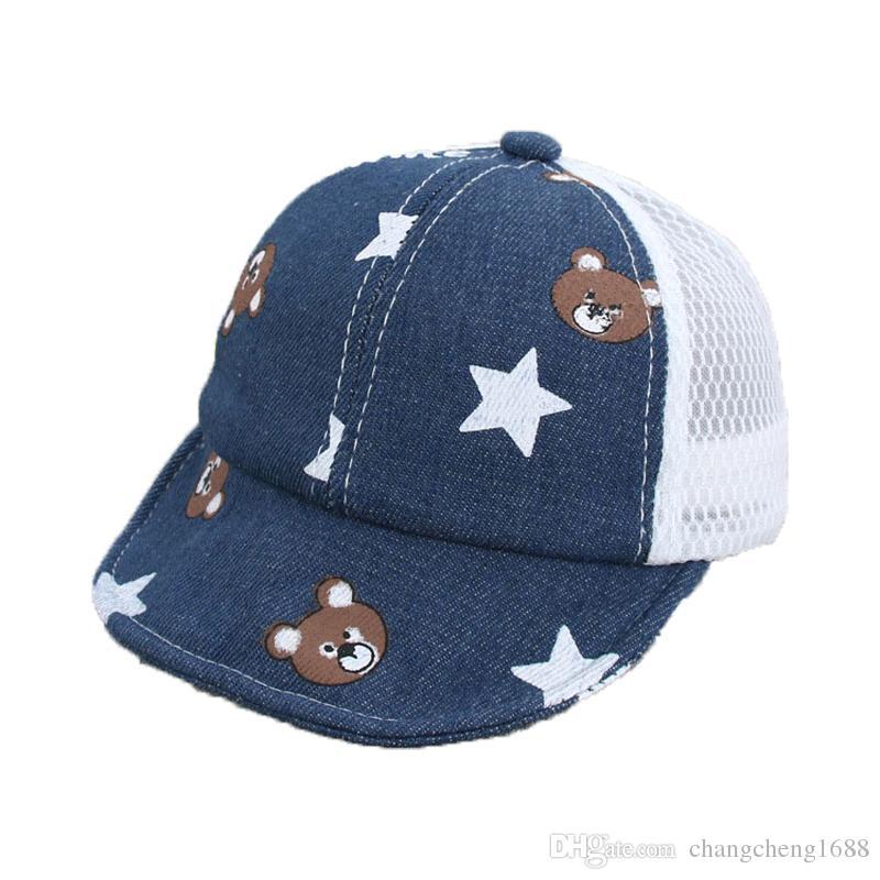 301c0a12dc9 Unisex Baby Mesh Patchwork Visors Cap Child Kids Bear Design Star Printed  Adjustable Summer Soft Brim Sun Protective Hat MZ5799 Online with   4.38 Piece on ...