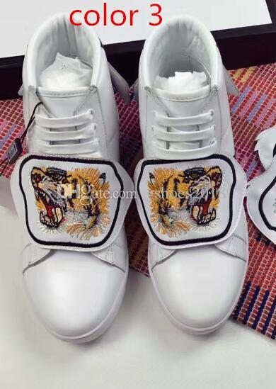 2018 YENI Hayvanlar Nakış Toka Unisex Rahat Ayakkabılar Inek Derisi Deri Sneaker Dantel-up Eğitmenler