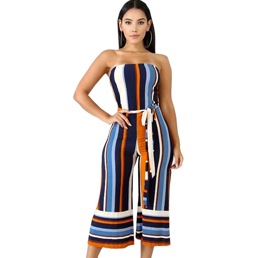 c7e552794058 2019 2018 AUTUMN Women Sexy Strapless Off Shoulder Striped High Waist Wide  Leg Calf Length Pants Jumpsuit Tunic Party Romper Overalls From Odeletta
